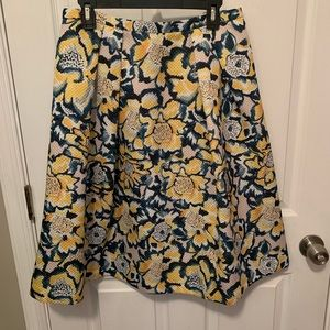 H&M Yellow Floral Midi A-Line Skirt - Size 12